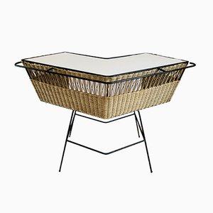 Mueble bar de metal y ratán, 1950