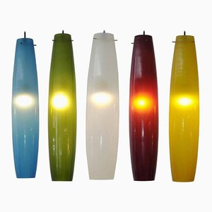 Murano Glass Pendant Lights by Alessandro Pianon for Vistosi, 1960s, Set of 5