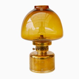 Lámpara de aceite L101 de vidrio en ámbar de Hans-Agne Jakobsson para Markaryd, años 60
