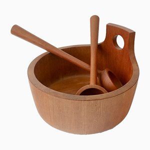 Vintage Danish Teak Salad Bowl with Servers by Jens Quistgaard for Nissen Naarden
