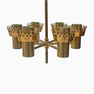6-Arm Brass Candle Chandelier by Hans-Agne Jakobsson for Markaryd, 1960s