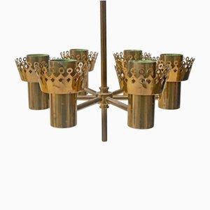 Lampadario a sei braccia in ottone di Hans-Agne Jakobsson per Markaryd, anni '60