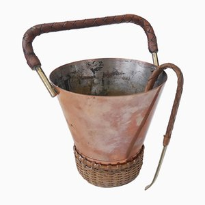 Vintage Brass, Copper & Cane Ice Bucket and Tong from Illums Bolighus