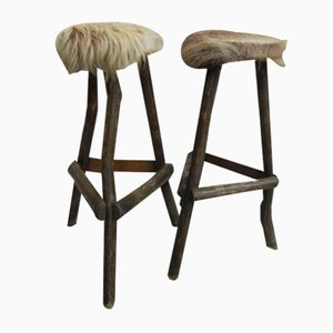 Vintage Cowhide Bar Stools, 1970s, Set of 2