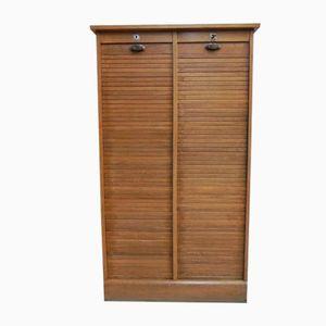 Vintage French Oak Roller Shutter Cabinet