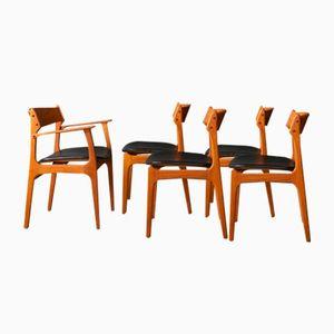 Esszimmerstühle von Eric Buch für O.D. Møbler, 1950er, 5er Set