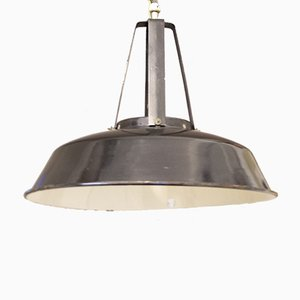 Large Vintage French Industrial Enameled Ceiling Lamp, 1930s