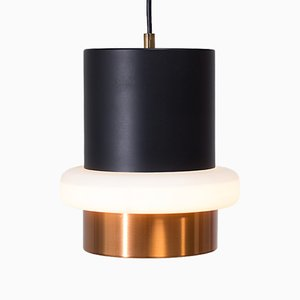 Lampe à Suspension Moderniste Noire et Laiton, 1960s