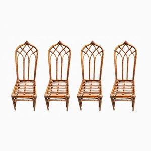 Chaises en Bambou, Italie, 1960s, Set de 4