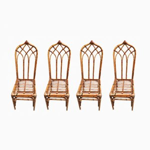 Italian Bamboo Chairs, 1960s, Set of 4