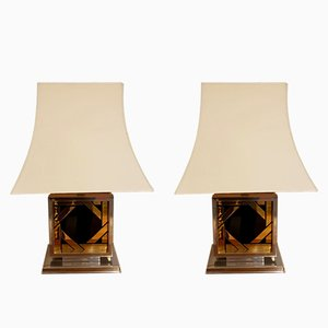 Gold and Black Glass Pagoda Lamps, 1970s, Set of 2