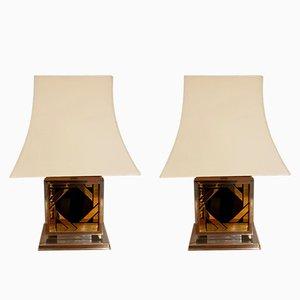 Lámparas Pagoda de vidrio negro y acero dorado, años 70. Juego de 2