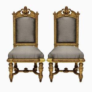 Antike vergoldete Napoleon III Stühle, 1860er, 2er Set