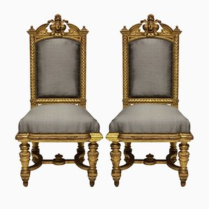 Antique Napoleon III Water Gilded Chairs, 1860s, Set of 2