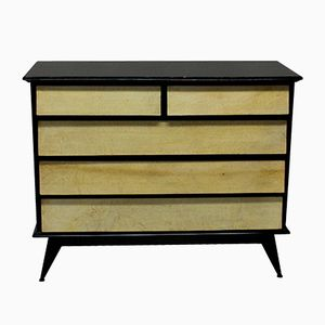 Vintage Italian Black Lacquered & Parchment Chest