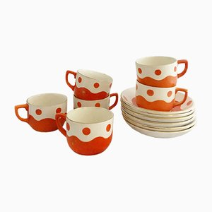 Vintage French Porcelain Coffee Set from Sarreguemines et Digion, 1940s