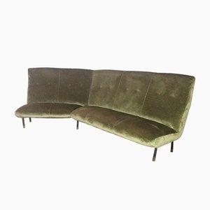 Vintage Italian Velvet Corner Sofa, 1960s