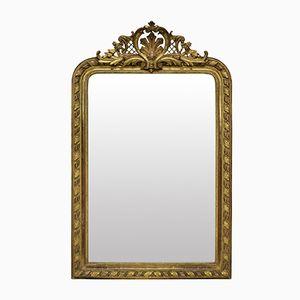 Specchio da camino antico dorato, metà XIX secolo