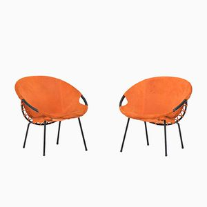 Vintage Suede Balloon Chairs, 1960s, Set of 2