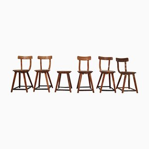 Bauhaus Wooden Chairs by Charles & Ray Eames, 1930s, Set of 6