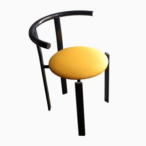 Vintage Stuhl aus schwarzem Metall & gelbem Stoff, 1980er