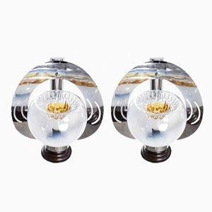 Lámparas de pared de cristal de Murano de Mazzega, años 60. Juego de 2
