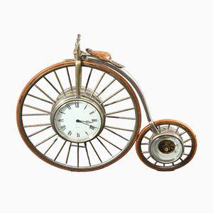 Tischuhr mit Barometer in Hochrad-Optik, 1930er