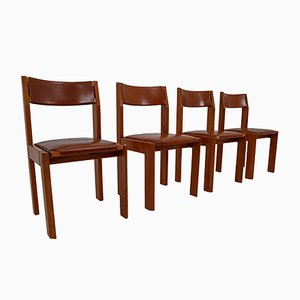 Elm & Leather Dining Chairs, 1970s, Set of 4