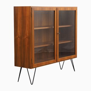Walnut Glass Cabinet with Hairpin legs, 1960s