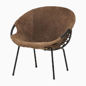 Vintage German Balloon Chair in Brown Suede, 1970s