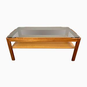 Table Basse Vintage en Teck & en Verre Fumé