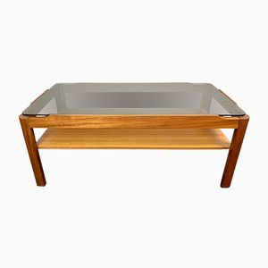 Vintage Teak & Smoked Glass Coffee Table