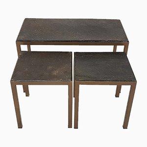 Tavolini ad incastro in pietra e metallo, anni '70