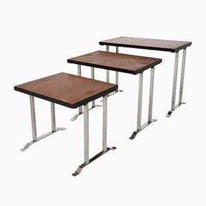 Vintage Teak & Metal Nesting Tables, 1960s