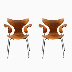 Modell 3208 Armlehnstühle von Arne Jacobsen für Fritz Hansen, 1970er, 2er Set