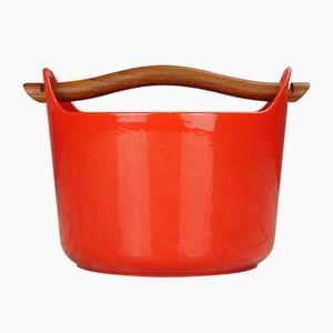 Vaso vintage rosso smaltato di Timo Sarpaneva, 1959