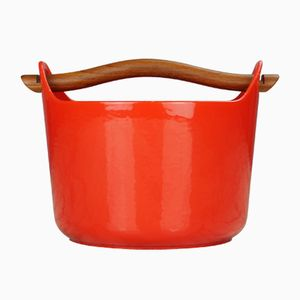 Vintage Red Enamel Pot by Timo Sarpaneva, 1959