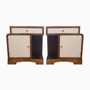 Art Deco Vintage Nachttische, 2er Set