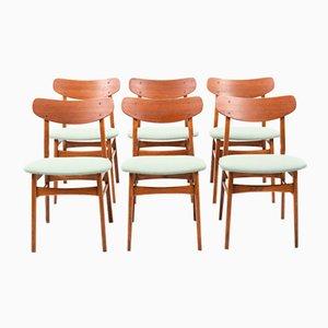 Chaises de Salle à Manger en Teck & en Chêne, Danemark, 1960s, Set de 6