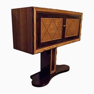 Consola italiana vintage de palisandro y madera de arce, años 40