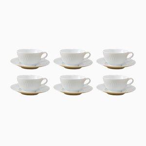 Weiße Tassen und Teller aus Porzellan von Hutschenreuther, 1950er, 6er Set