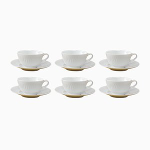 White Porcelain Cups and Plates from Hutschenreuther, 1950s, Set of 6