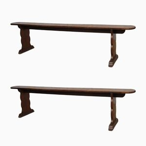 Antique French Oak Benches, Set of 2