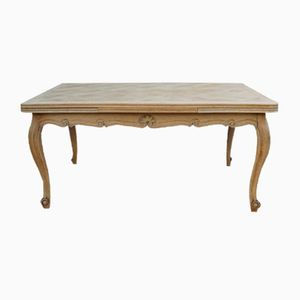 Bleached Oak Extending Draw Leaf Dining Table, 1940s