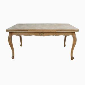 Tavolo da pranzo allungabile in legno di quercia sbiancato, anni '40