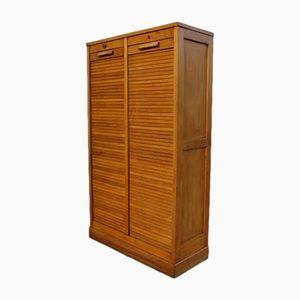 Industrial Oak Double Tambour Front Cabinet, 1940s