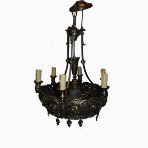 Lampadario Art Nouveau in ottone