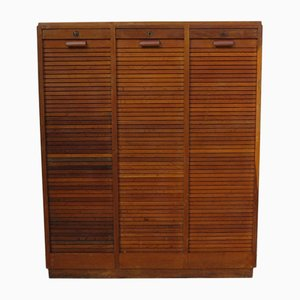 Industrial Oak Triple Tambour Front Cabinet, 1940s