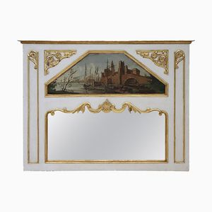 Antiker lackierter Kaminsimsspiegel mit gemalten Details, 1850er