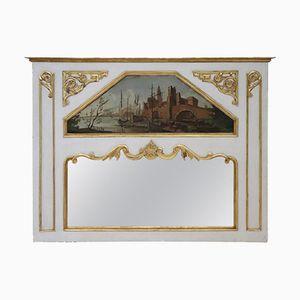 Espejo de chimenea antiguo lacado con detalles pintados, década de 1850
